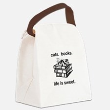 CATS.  BOOKS.  LIFE IS SWEET Canvas Lunch Bag
