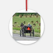 Amish Wagon Ornament (Round)