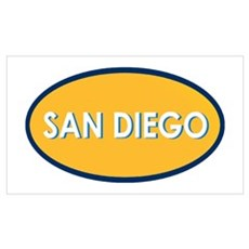 SAN DIEGO Yellow Oval Poster