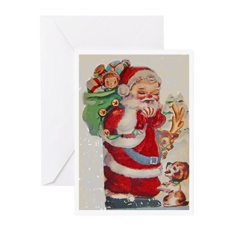 Santa & Puppy Greeting Cards (Pk of 10)