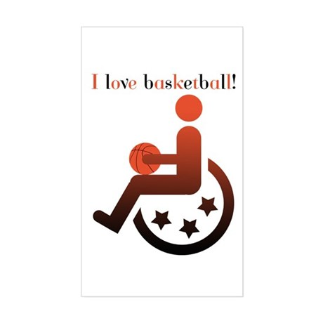 I love basketball Rectangle Sticker