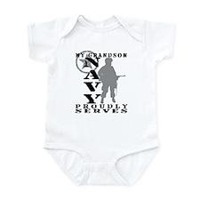 Grandson Proudly Serves - NAVY Infant Bodysuit