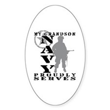 Grandson Proudly Serves - NAVY Oval Decal