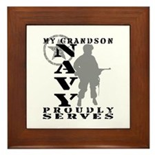 Grandson Proudly Serves - NAVY Framed Tile