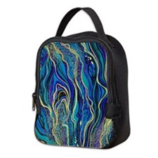 Abstract Waves Neoprene Lunch Bag