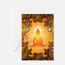 Buddha in the sunset Greeting Cards