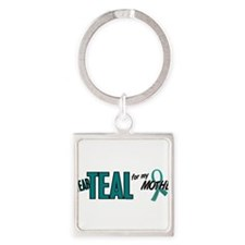 Cute Teal ovarian cancer Square Keychain