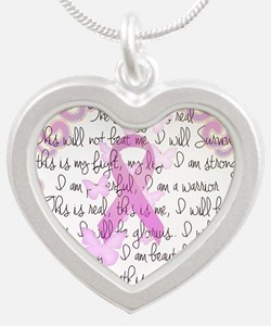 Pink Ribbon, the Fight Silver Heart Necklace