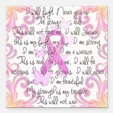"""Pink Ribbon, the Fight Square Car Magnet 3"""" x 3"""""""