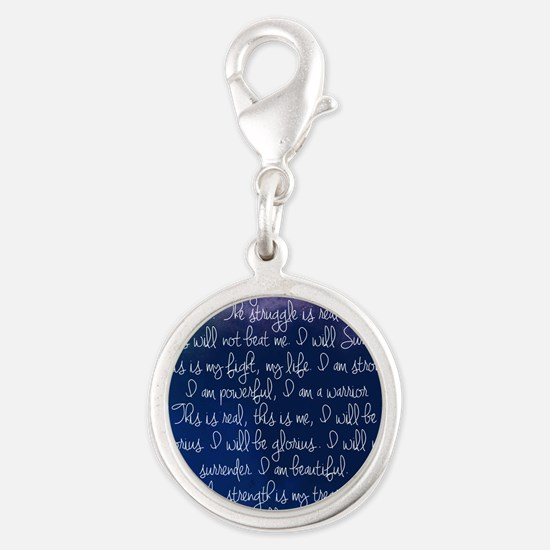 The Struggle, dark blue Silver Round Charm