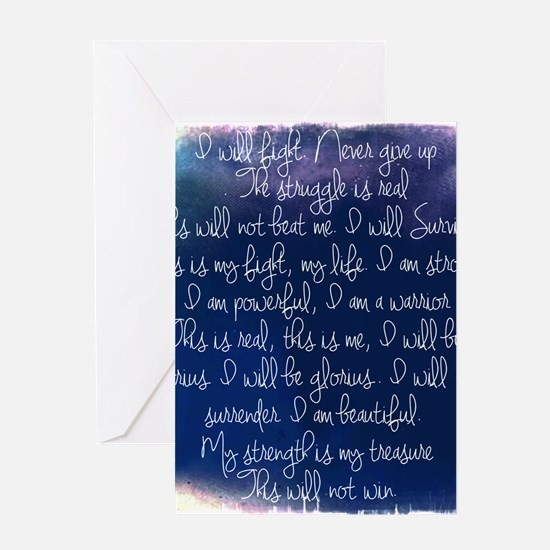 The Struggle, dark blue Greeting Card
