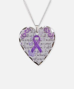 Purple Awareness Ribbon Necklace Heart Charm