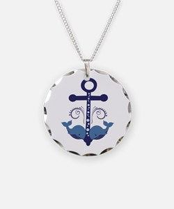 Blue Anchor and Whales Necklace