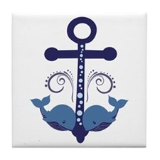 Blue Anchor and Whales Tile Coaster