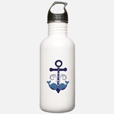 Blue Anchor and Whales Water Bottle