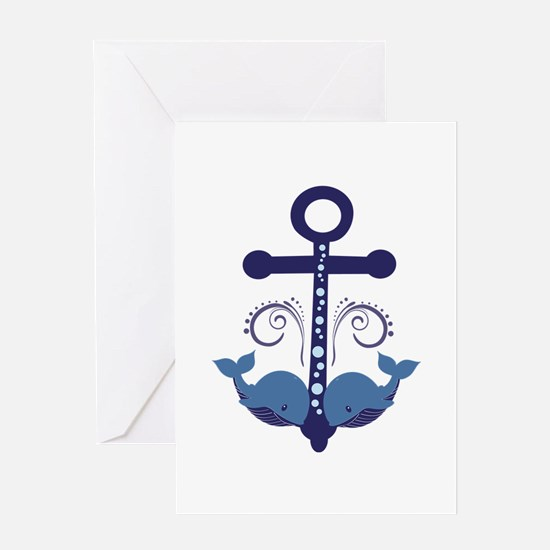 Blue Anchor and Whales Greeting Card
