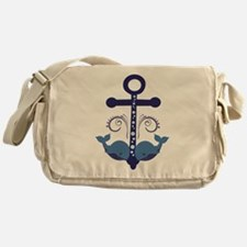 Blue Anchor and Whales Messenger Bag