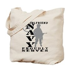 Girlfriend Proudly Serves - NAVY Tote Bag