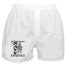 Girlfriend Proudly Serves - NAVY Boxer Shorts