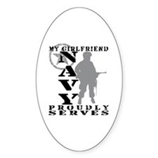 Girlfriend Proudly Serves - NAVY Oval Decal