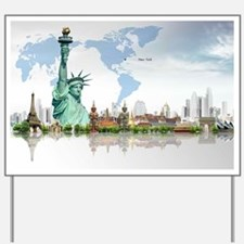 Lady Liberty World Map Yard Sign