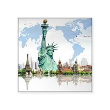 Lady Liberty World Map Sticker