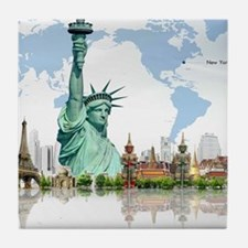 Lady Liberty World Map Tile Coaster