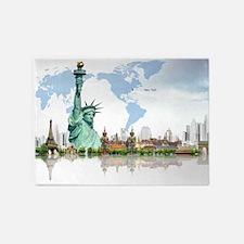 Lady Liberty World Map 5'x7'Area Rug