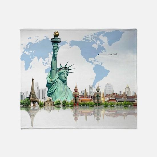 Lady Liberty World Map Throw Blanket