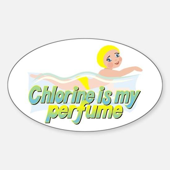 Chlorine is my perfume Oval Decal