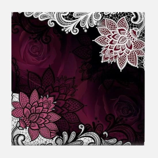 Lace & Roses Tile Coaster