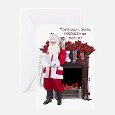 """Check again, Santa"" Greeting Card"