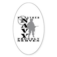 Father Proudly Serves - NAVY Oval Decal