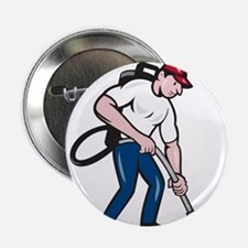 "Commercial Cleaner Janitor Vacuum Cartoon 2.25"" Bu"