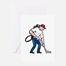 Commercial Cleaner Janitor Vacuum Cartoon Greeting