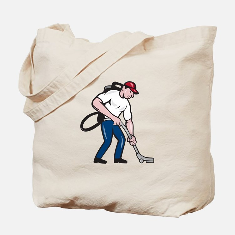 Commercial Cleaner Janitor Vacuum Cartoon Tote Bag