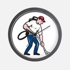 Commercial Cleaner Janitor Vacuum Cartoon Wall Clo
