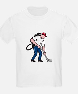 Commercial Cleaner Janitor Vacuum Cartoon T-Shirt