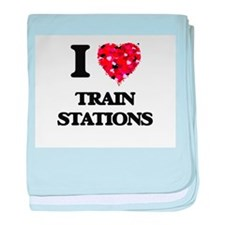 I love Train Stations baby blanket