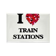 I love Train Stations Magnets