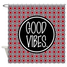 Good Vibes Expression Typography Shower Curtain