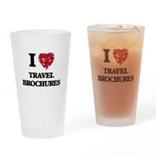 I love Travel Brochures Drinking Glass