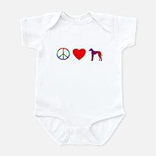 Peace, Love, Azawakh Baby Bodysuit