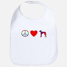 Peace, Love, Azawakh Bib