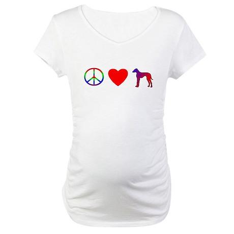 Peace, Love, Azawakh Maternity T-Shirt
