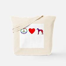 Peace, Love, Azawakh Tote Bag