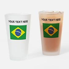 Custom Brazil Flag Drinking Glass