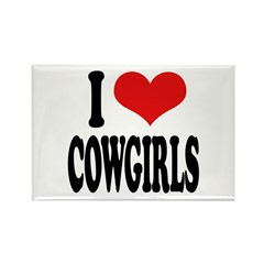 I Love Cowgirls Rectangle Magnet (100 pack)