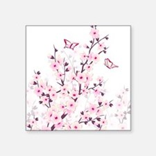 """Cherry Blossoms And Butterf Square Sticker 3"""" x 3"""""""