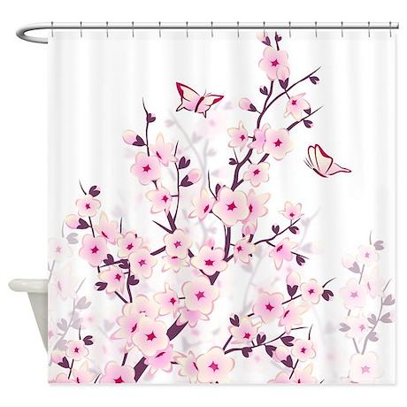 Cherry Blossoms And Butterflies Shower Curtain
